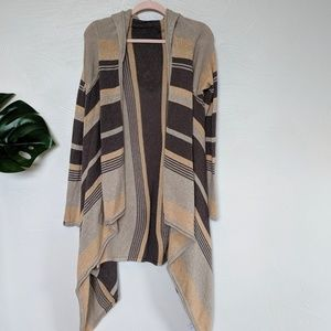 Athleta brown striped hooded cardigan
